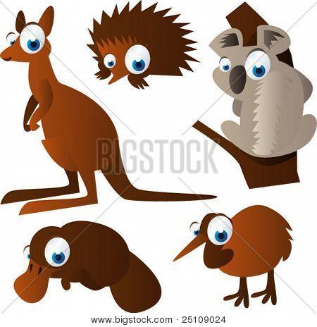 vector animal set 100: australian animals: echidna, kangaroo, koala, duckbill, kiwi