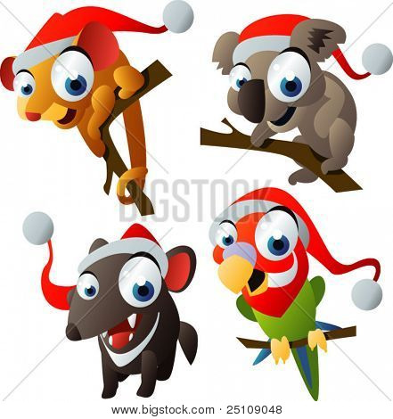 vector christmas australian animals