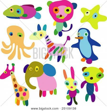 vector children animals set