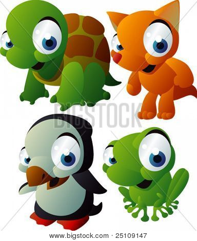 vector animal set 125: turtle, fox, penguin, frog