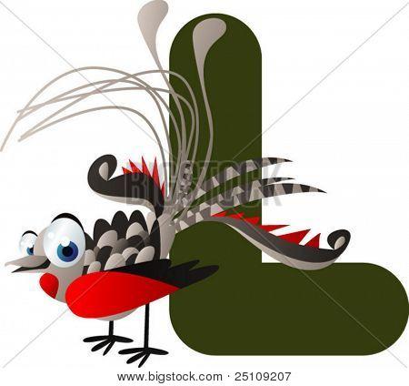 vector alphabet: L is for lyre-bird