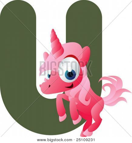 vector alphabet: U is for unicorn