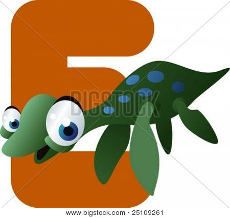 vector dino alphabet: E is for elasmosaurus
