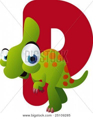 vector dino alphabet: P is for parasaurolophus