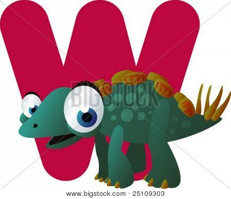 vector dino alphabet: W is for wuerhosaurus