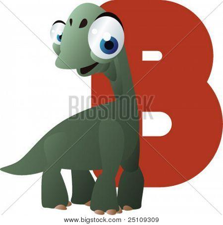 vector dino alphabet: B is for brachiosaurus