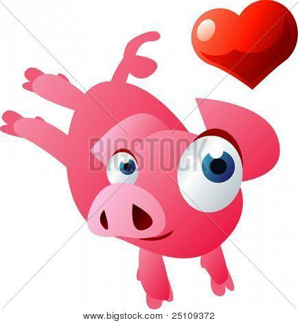 vector valentine card: piglet