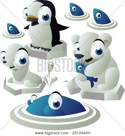 vector animal set 155: polar animals