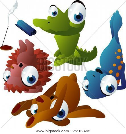vector yoga animals set 180: crocodile, hedgehog, seal, bear