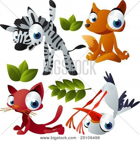 vector yoga animals set 181: zebra, fox, cat, stork