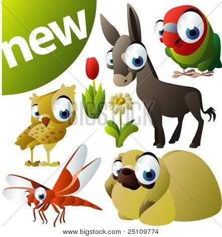 vector animal set 255: dragonfly, parrot, owl, donkey