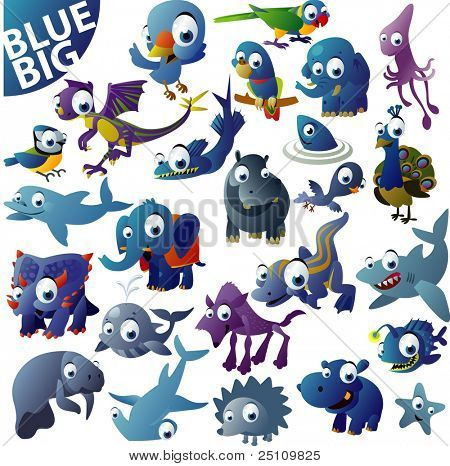 extra big vector blue animal set
