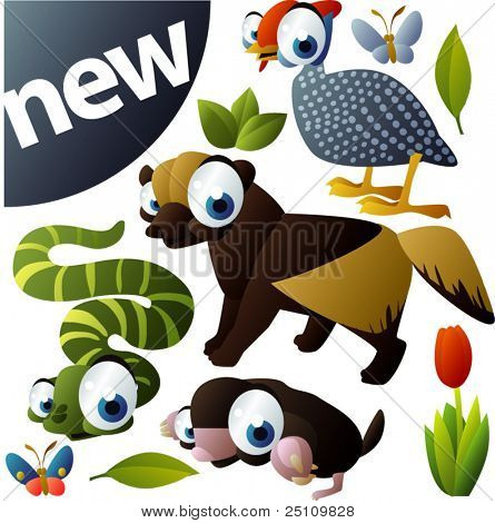 vector animal set 276: snake, mole, guinea fowl, glutton, wolverine