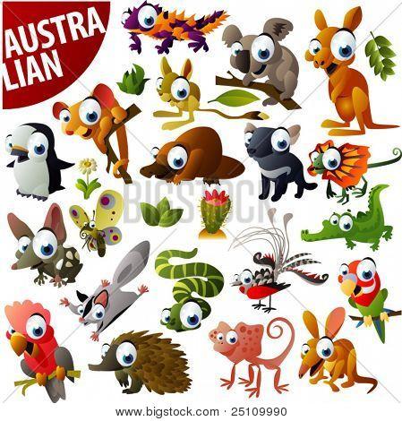 animais Australian grande vector set