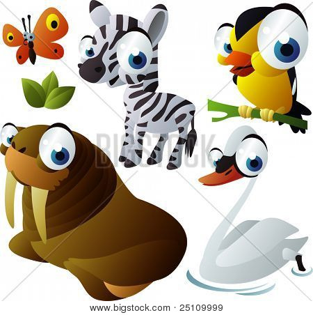 2010 animal set: zebra, walrus, bird, swan, butterfly
