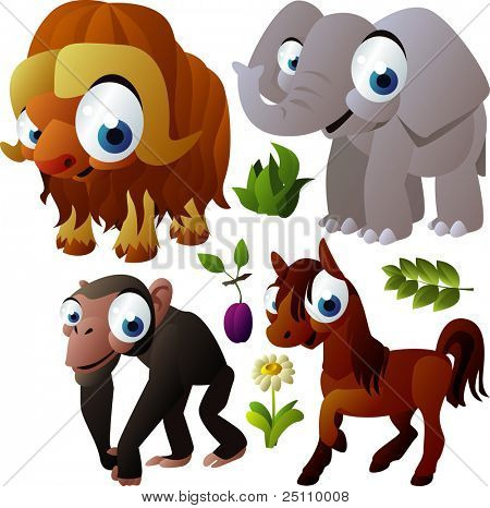 2010 animal set: musk ox, elephant, chimpanzee, horse