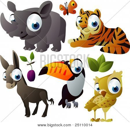 2010 animal set: rhino, tiger, toucan, owl, donkey