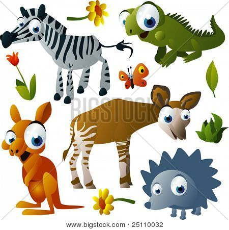 2010 animal set: zebra, iguana, okapi, hedgehog, kangaroo
