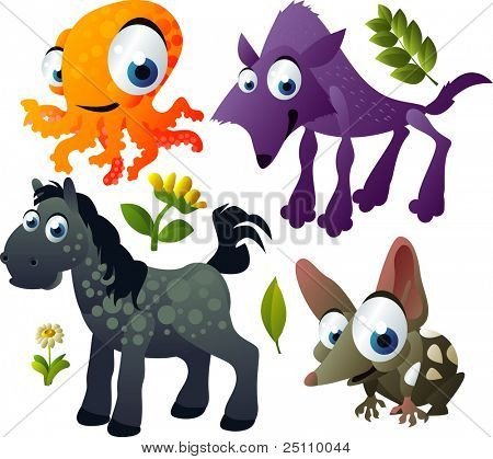 2010 animal set: octopus, wolf, quoll, horse