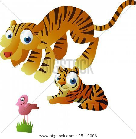 happy animals family: tiger