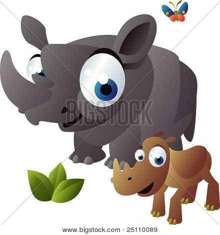 happy animals family: rhinoceros