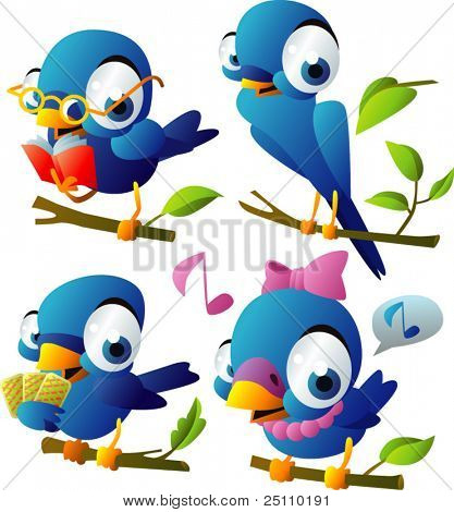 Blue birds vector set