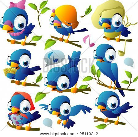 grandes pájaros azules set