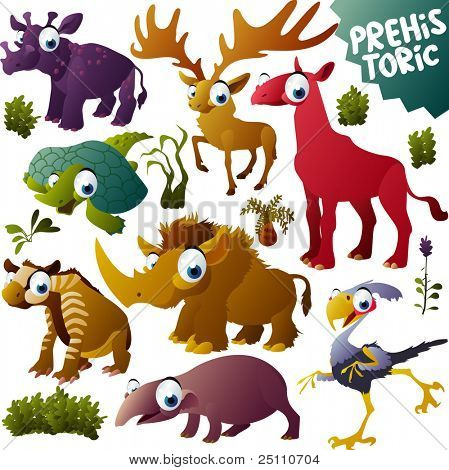 vector prehistoric animals set