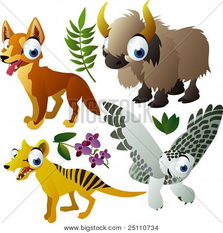 Vector animales: dingo, yak, tilacino, buho polar