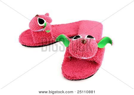 Slipper That Made As Pink On White Background