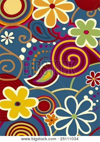 Spring fever, colorful flowers and design ornaments
