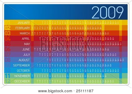 Colorful 2009 Calendar Design