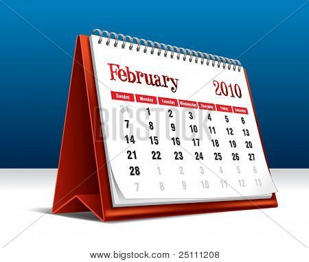 Vector illustration of a 2010 desk calendar showing the month February