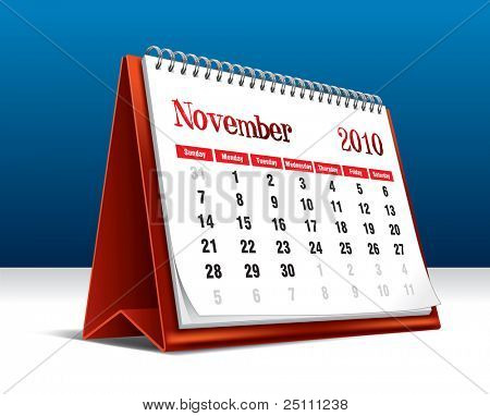 Vector illustration of a 2010 desk calendar showing the month November