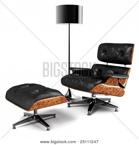 A designer chair and a lamp. Elegant and minimal interior design concept. 3D rendered in high resolution.