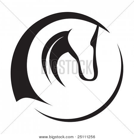A silhouette drawing of a horse head.