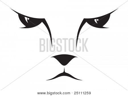 A silhouette drawing of a cat face.