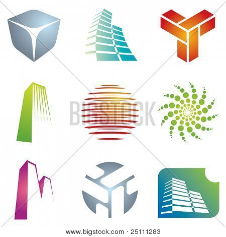Varios arquitectónicos y construcción iconos de colores para sus diseños.