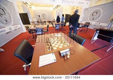 MOSCOW, RUSSIA - NOVEMBER 4: Michael Talja's fifth chess memorial starts on November 4, 2010 in Moscow, Russia. Five of 10 which participants enter into ten best grand masters of world.