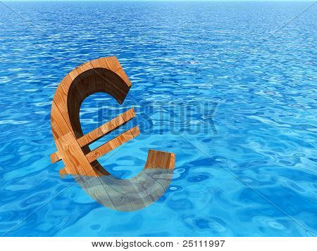 High resolution conceptual old wood euro symbol or sign sinking in water or sea as a metaphor or concept for crisis in Europe, ideal for financial,business or currency designs