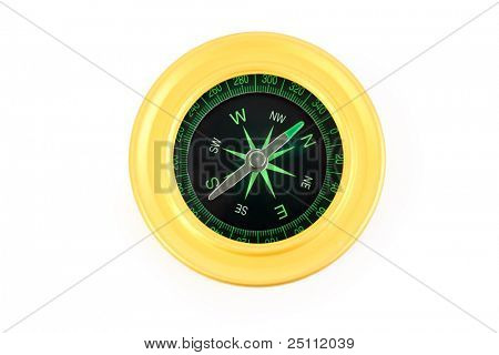 bright yellow and black compass isolated on white background