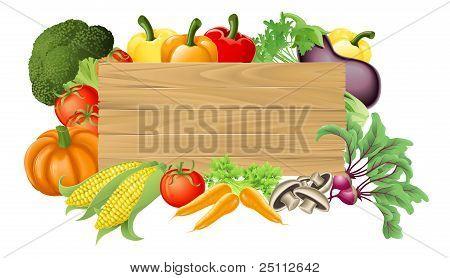 Vegetable Wooden Sign Illustration