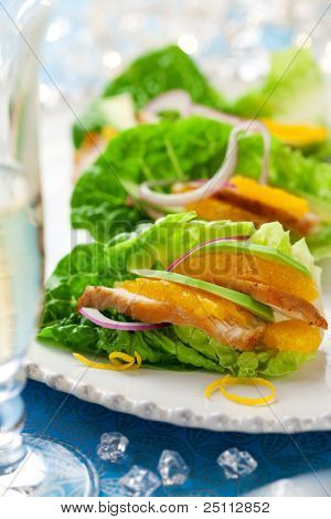 Chicken salad on lettuce leaves for holiday