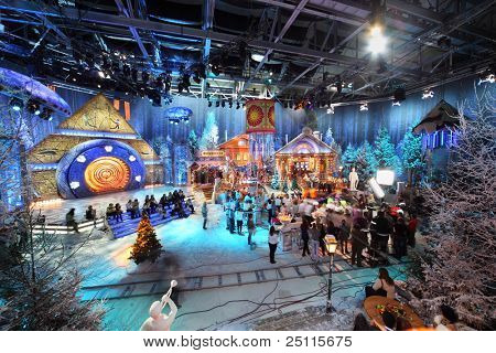 MOSCOW - NOV 21: Filming of New Year in Gluharevo village on NTV channel, on Nov 21, 2010 in Moscow, Russia. Real village was built in 5-storied pavilion in area of 2500 square meters.