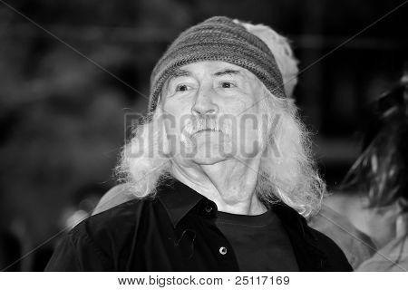David Crosby at Liberty Park (b&w edit)