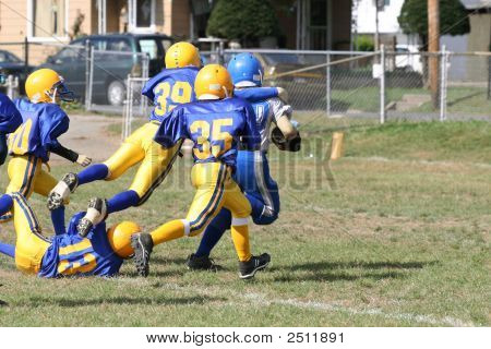 Youth Football Player Touchdown