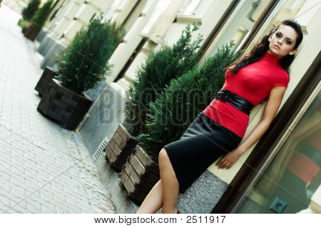 Brunette Business Woman In Red Bluse - Outdoor