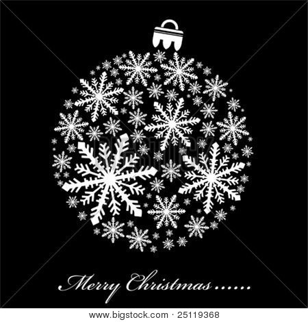 Black and white Vector Christmas illustration