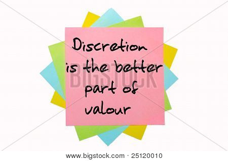 """Proverb """" Discretion Is The Better Part Of Valour"""" Written On Bunch Of Sticky Notes"""