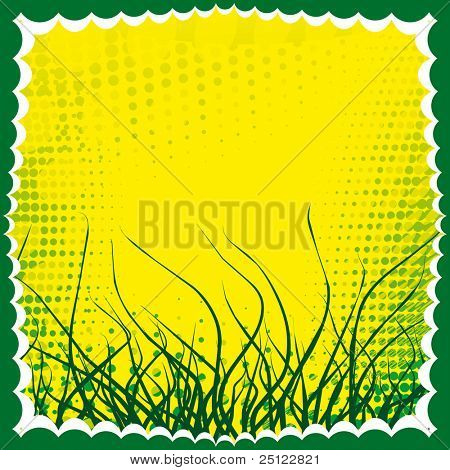 Fresh green grass vector frame